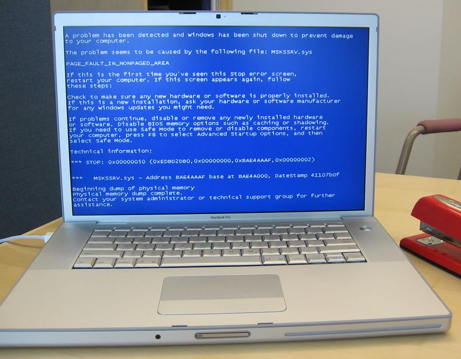 синий экран на компьютере
